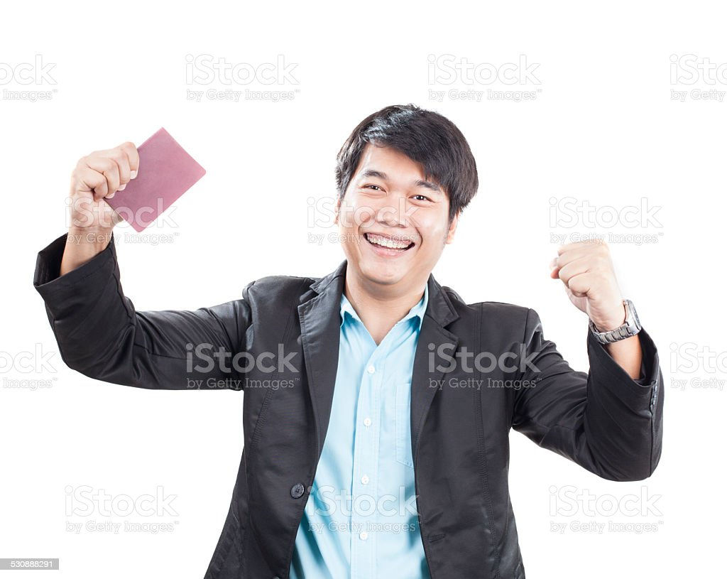 young business man fists up stock photo