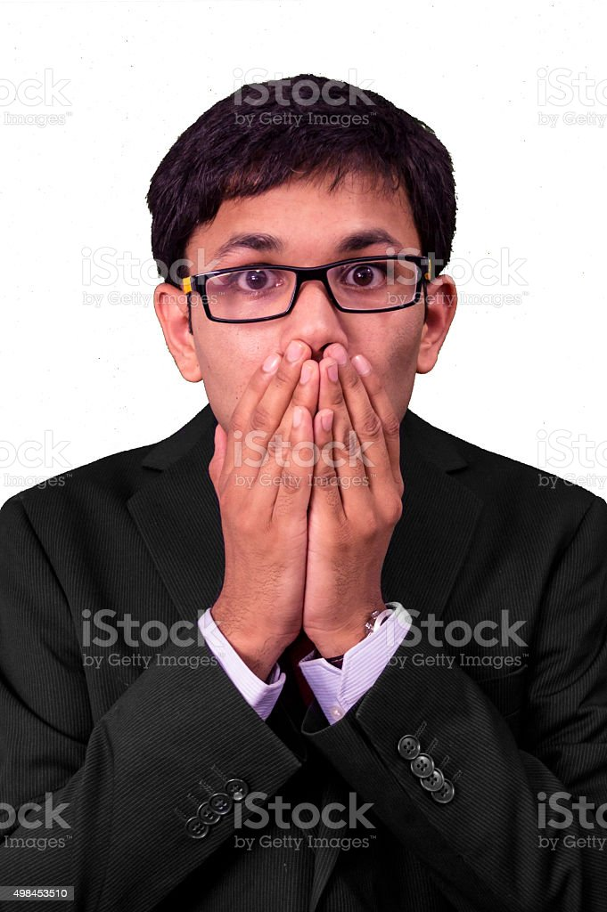 Young business man in shock! stock photo
