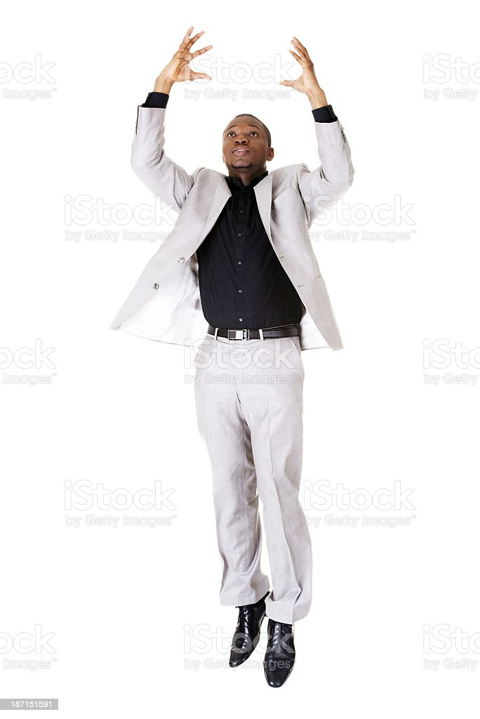 Young business man jumping. royalty-free stock photo