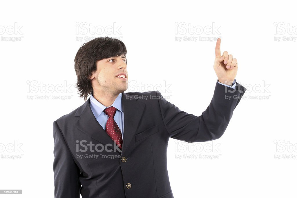 young business man presses button royalty-free stock photo