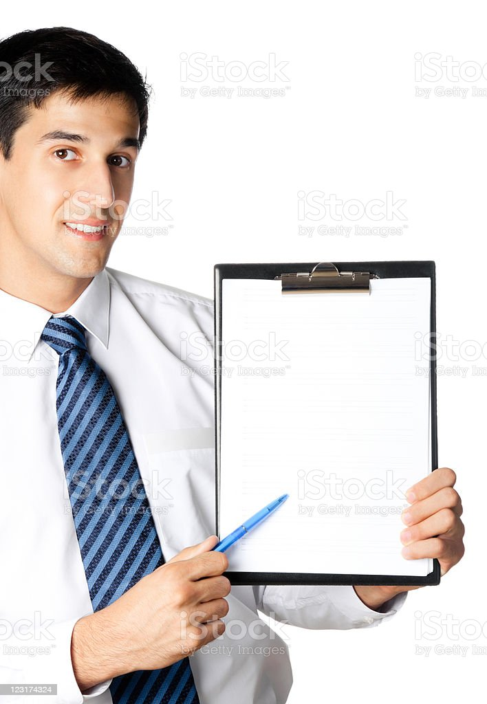 Young business man showing blank clipboard, isolated royalty-free stock photo