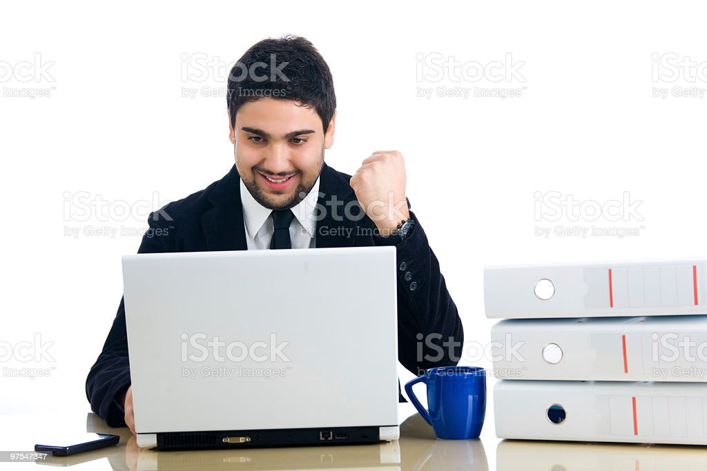 Young business man showing success royalty-free stock photo
