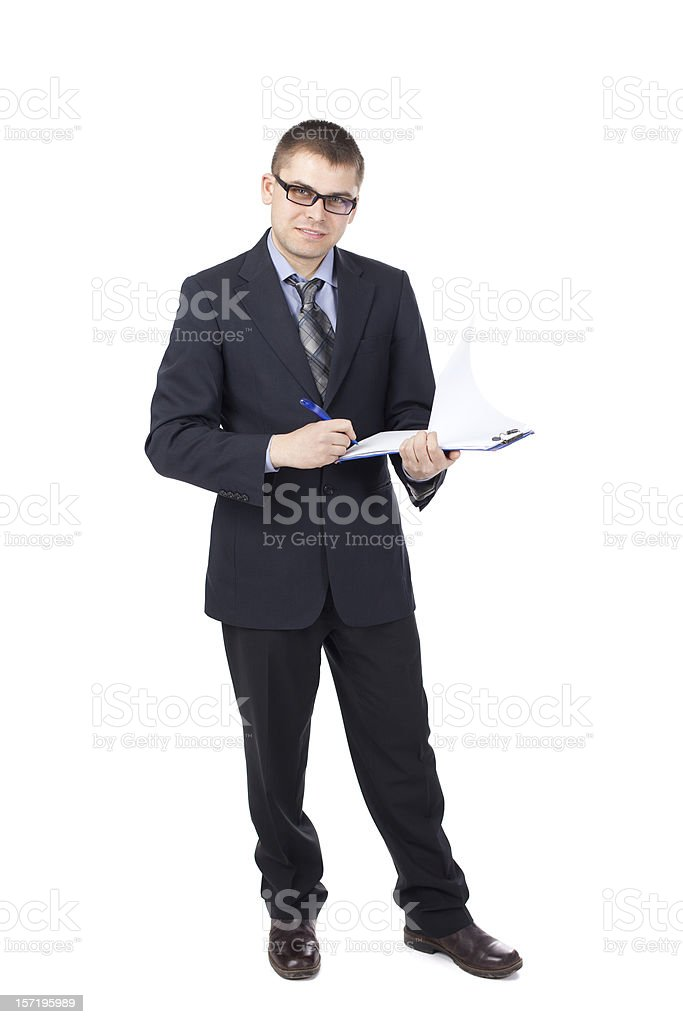 Young business man der Unterzeichnung Dokumente isoliert auf weißem Hintergrund – Foto