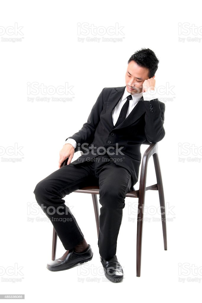 Young Business Man Sleeping On Chair royalty-free stock photo