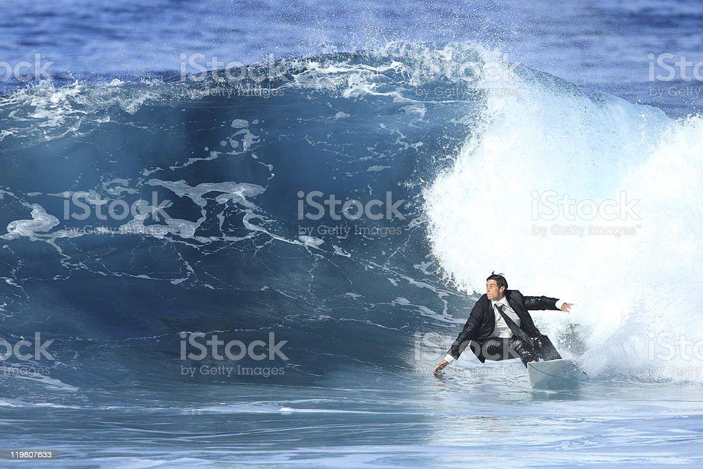 hombre de negocios joven surf - Foto de stock de Alegría libre de derechos