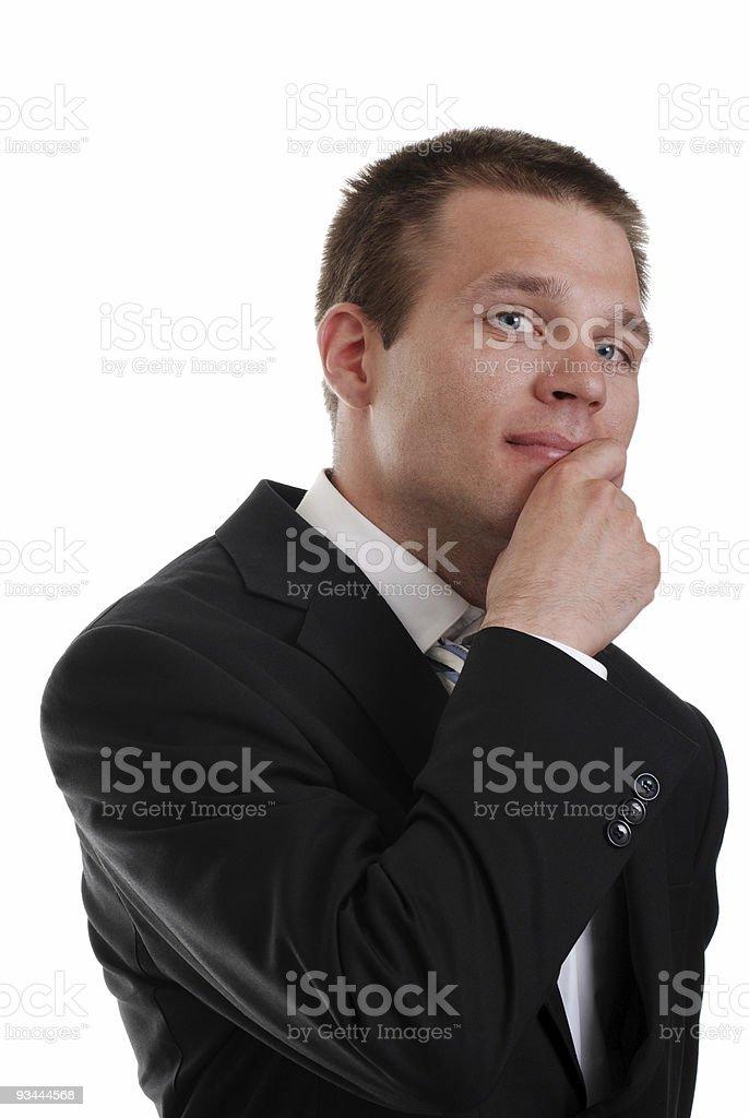 Junge business Mann Denken Lizenzfreies stock-foto
