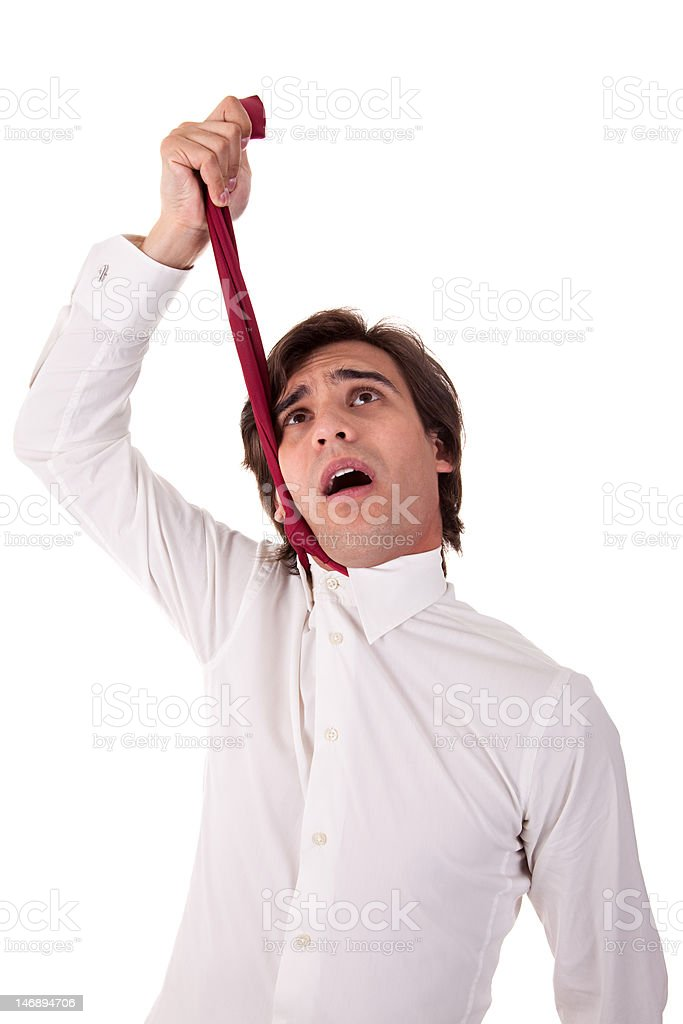 young business man to hang himself stock photo
