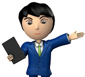 Young business man who presents with  ablet terminal. 3D illustration