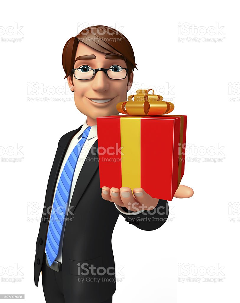 Young Business Man with gift box royalty-free stock photo