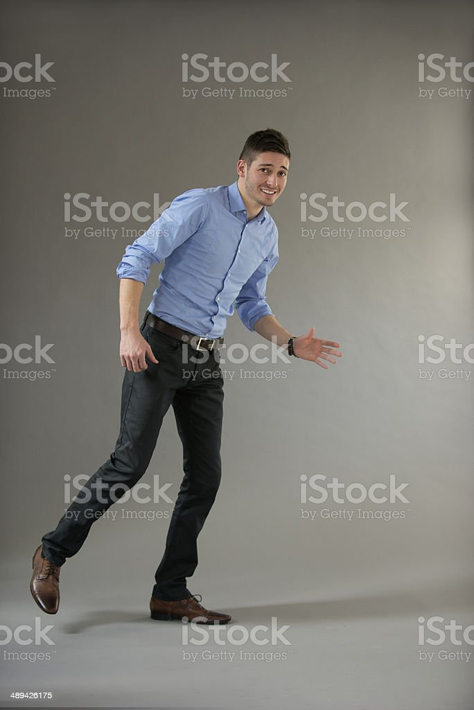 Young business men hesitate dancing royalty-free stock photo