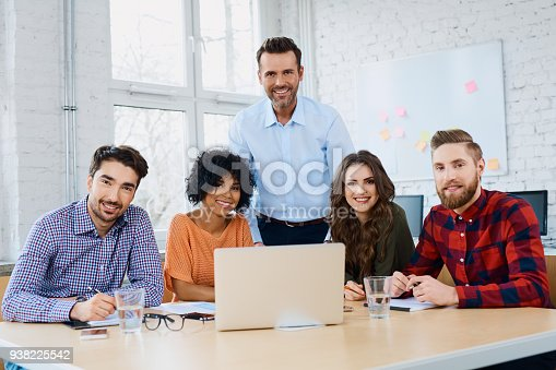 istock Young business people in office during company training, workshop. 938225542