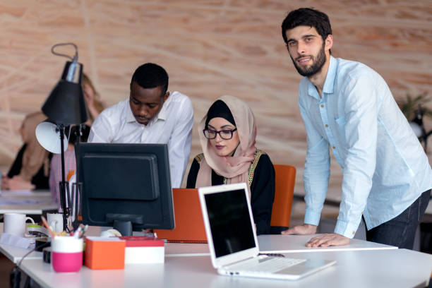 Young business people working at office on new project. startup, concept , team stock photo
