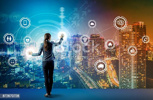 852015986 istock photo young business person and graphical user interface concept. Artificial Intelligence.  Internet of Things. Information Communication Technology. Smart City. digital transformation. 872670728