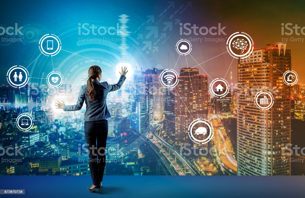 young business person and graphical user interface concept. Artificial Intelligence.  Internet of Things. Information Communication Technology. Smart City. digital transformation. stock photo