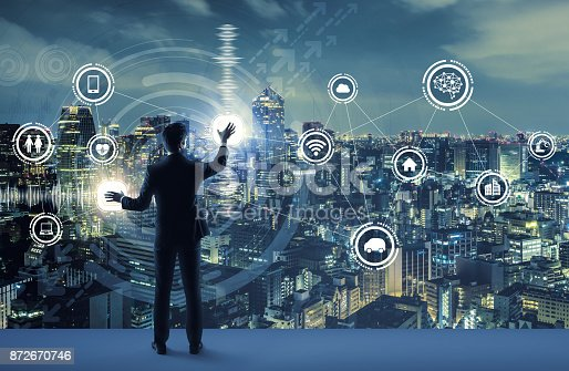 852015986 istock photo young business person and graphical user interface concept. Artificial Intelligence.  Internet of Things. Information Communication Technology. Smart City. digital transformation. 872670746
