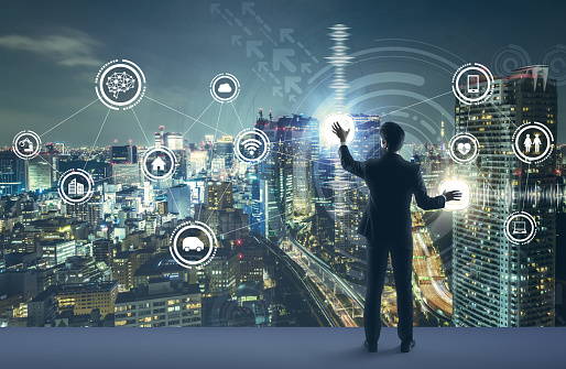 Young Business Person And Graphical User Interface Concept Artificial Intelligence Internet Of Things Information Communication Technology Smart City Digital Transformation Stock Photo - Download Image Now