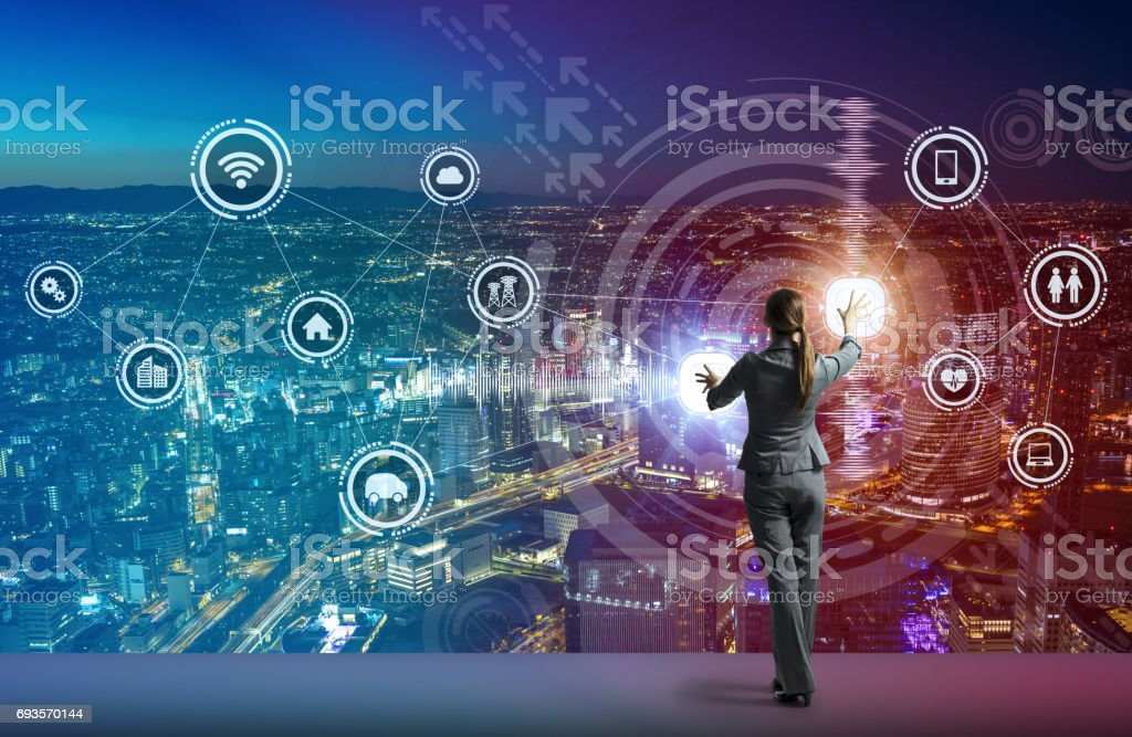 young business person and graphical user interface concept, Internet of Things, Information Communication Technology, Smart City, digital transformation, abstract image visual stock photo