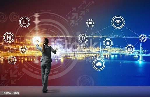 691790416istockphoto young business person and graphical user interface concept, Internet of Things, Information Communication Technology, Smart City, digital transformation, abstract image visual 693570168