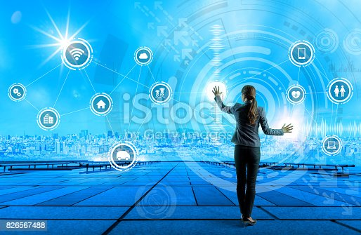 691790416istockphoto young business person and graphical user interface concept, Internet of Things, Information Communication Technology, Smart City, digital transformation, abstract image visual 826567488
