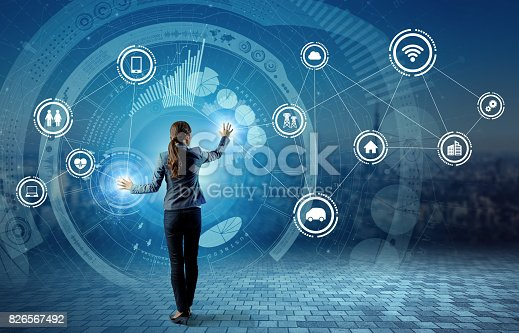 691790416istockphoto young business person and graphical user interface concept, Internet of Things, Information Communication Technology, Smart City, digital transformation, abstract image visual 826567492