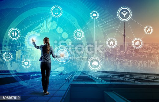 691790416istockphoto young business person and graphical user interface concept, Internet of Things, Information Communication Technology, Smart City, digital transformation, abstract image visual 826567512