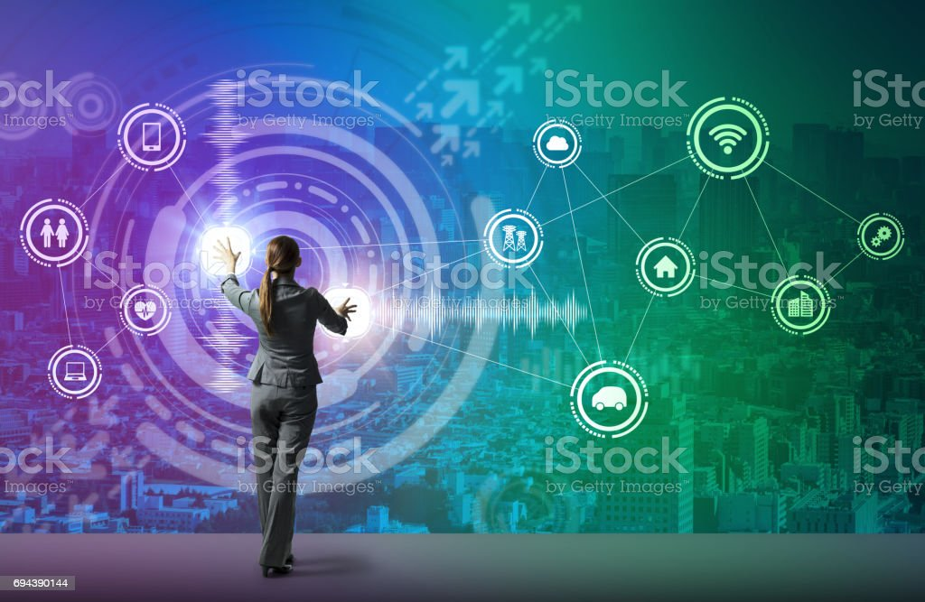 young business person and graphical user interface concept, smart city, internet of things stock photo