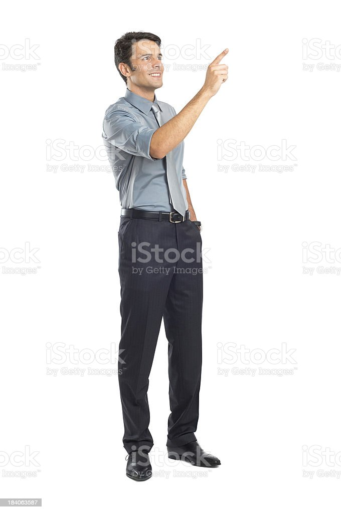Young business person pointing at a great idea  stock photo