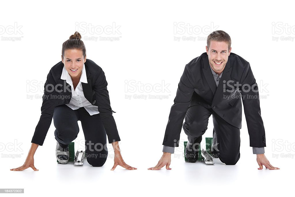 young business team in starting blocks royalty-free stock photo