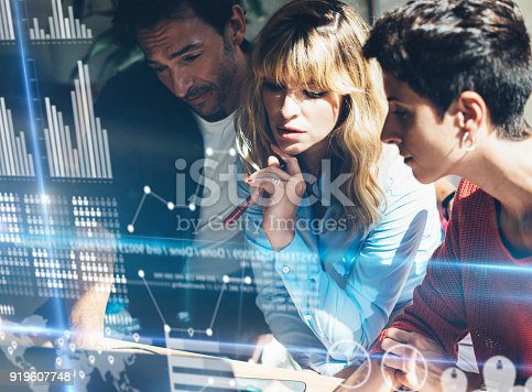 istock Young Business team making discussing at office.Concept of digital diagram,graph interfaces,virtual screen,connections icon.Horizontal,blurred background. 919607748