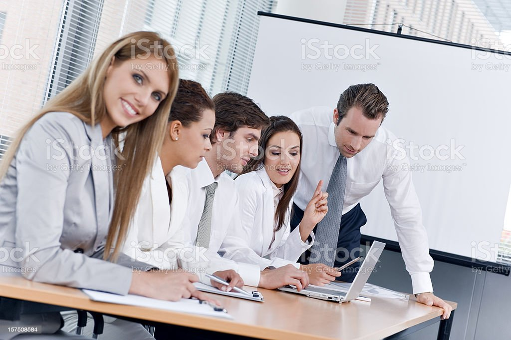 Young business team on a training royalty-free stock photo
