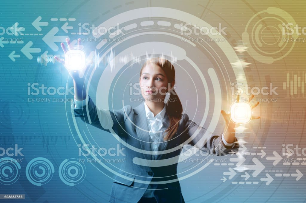 young business woman and futuristic graphical user interface concept, Internet of Things, Information Communication Technology, Heads up display, abstract mixed media stock photo