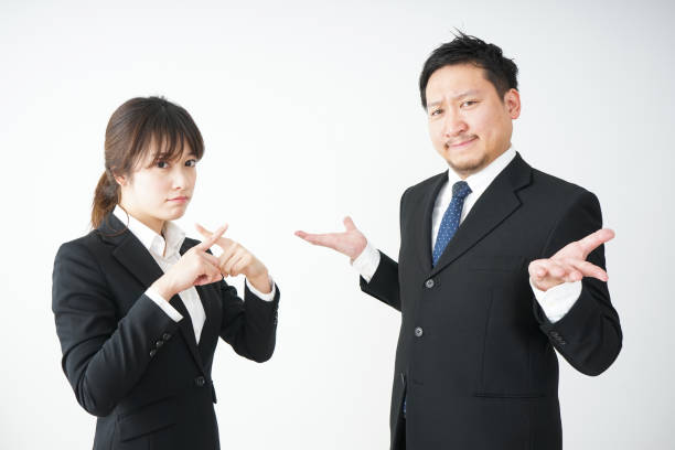 Young business woman and her tutor stock photo