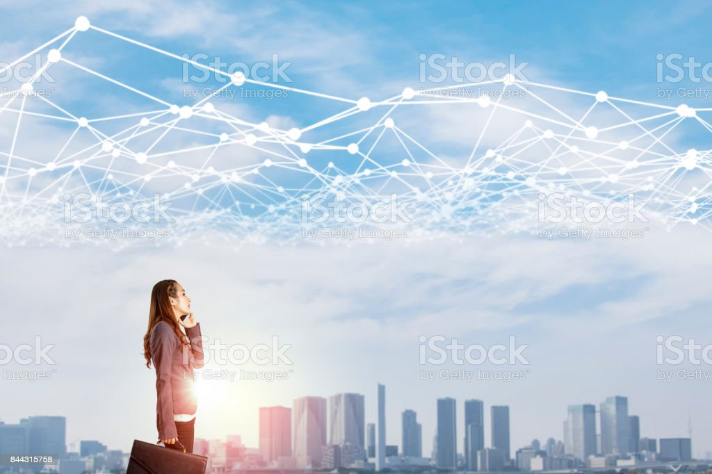 young business woman and mesh communication network concept. IoT(Internet of Things). ICT(Information Communication Network). Smart city. abstract mixed media.