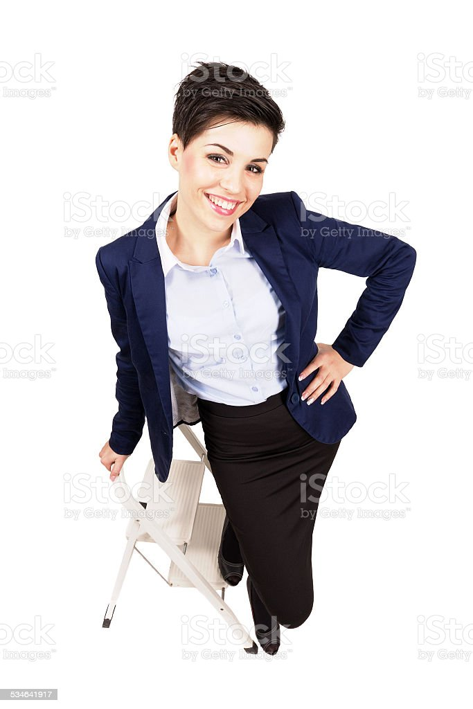 2015 Above Adult Adults Only Aspirations Young Business Woman Beauty Smiling On The Construction Ladder Royalty Free