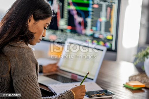 Middle Eastern woman tracking and trading stocks using laptop and desktop computer. Stock Exchange, investment, and financial trading concept.