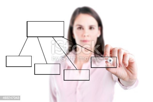 istock Young business woman drawing a flowchart 1, white background. 493247043