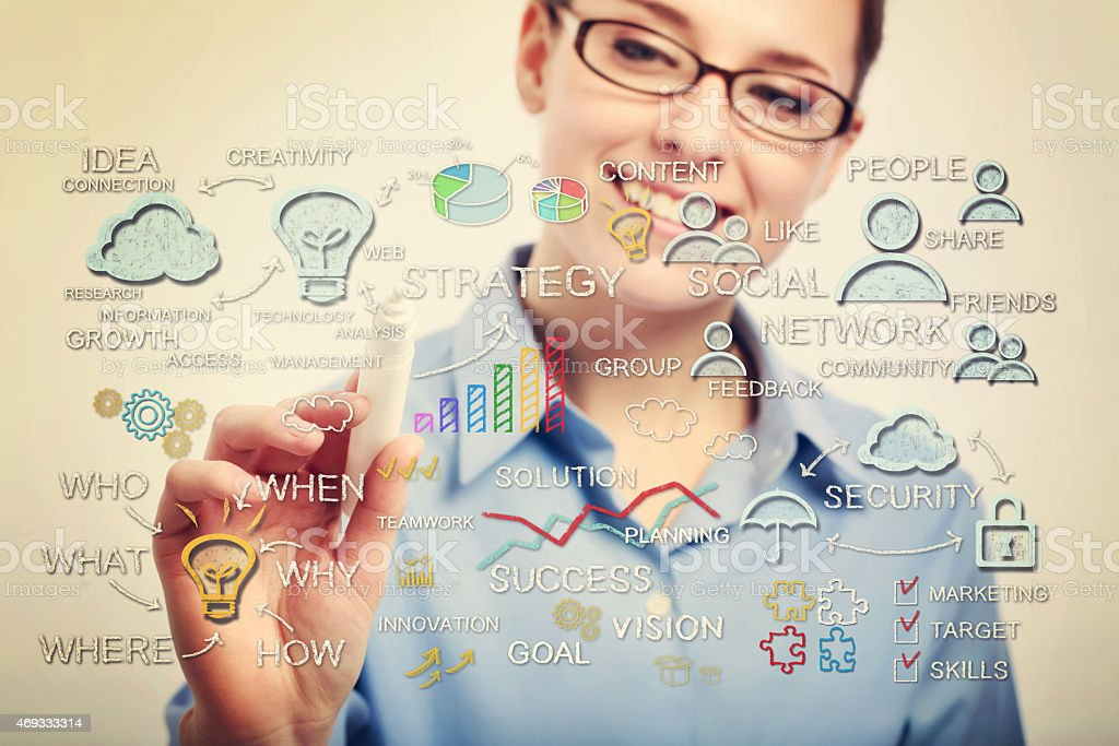 Young business woman drawing business strategy concepts royalty-free stock photo