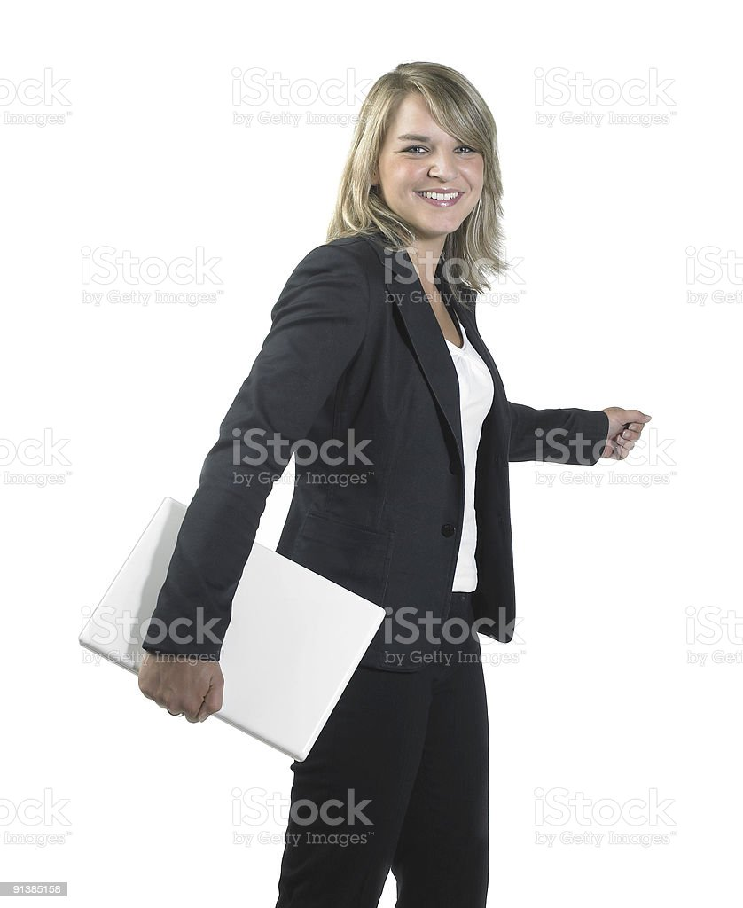 young business woman holding a laptop royalty-free stock photo