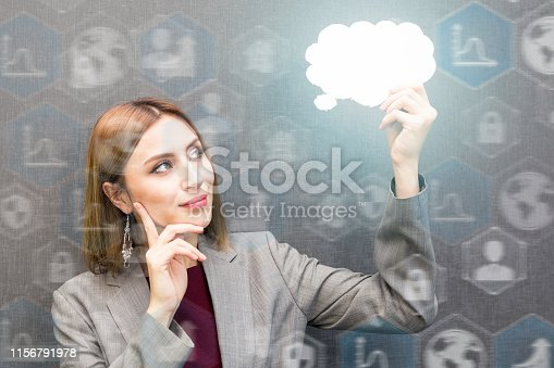 Young business woman holding a speech bubble. icons, technology and business concept