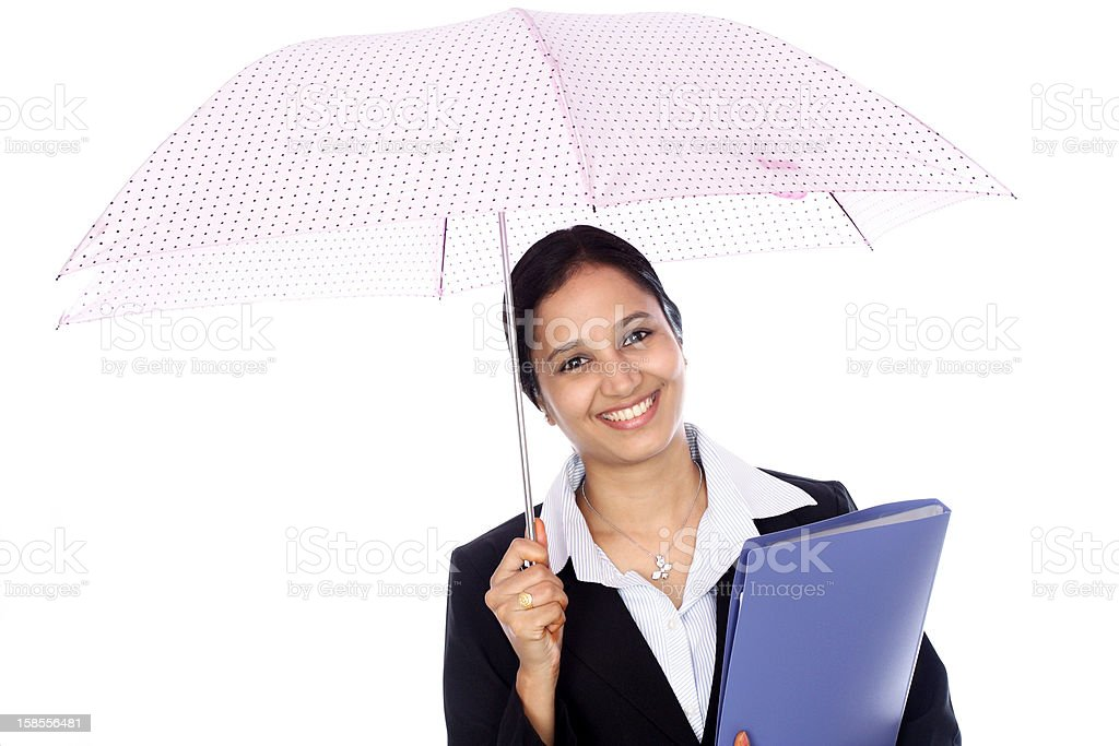 젊은 여성 사업가 쥠 우산 royalty-free 스톡 사진