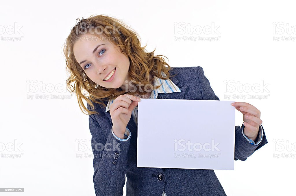 young business woman holding empty white board royalty-free stock photo
