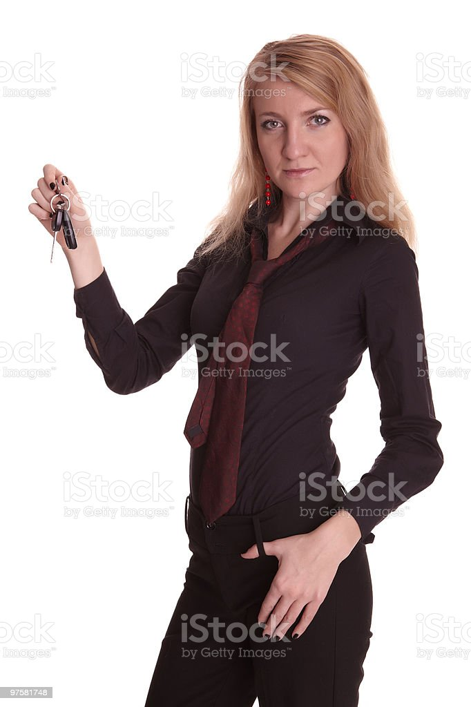 Young business woman holding some keys royalty-free stock photo