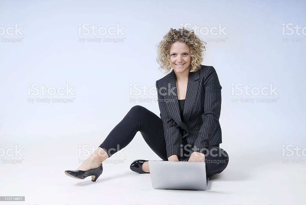 Young Business Woman on Computer stock photo
