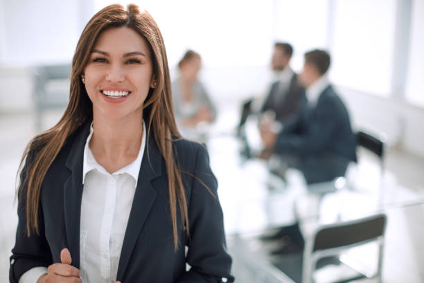 young business woman on the background of the office stock photo
