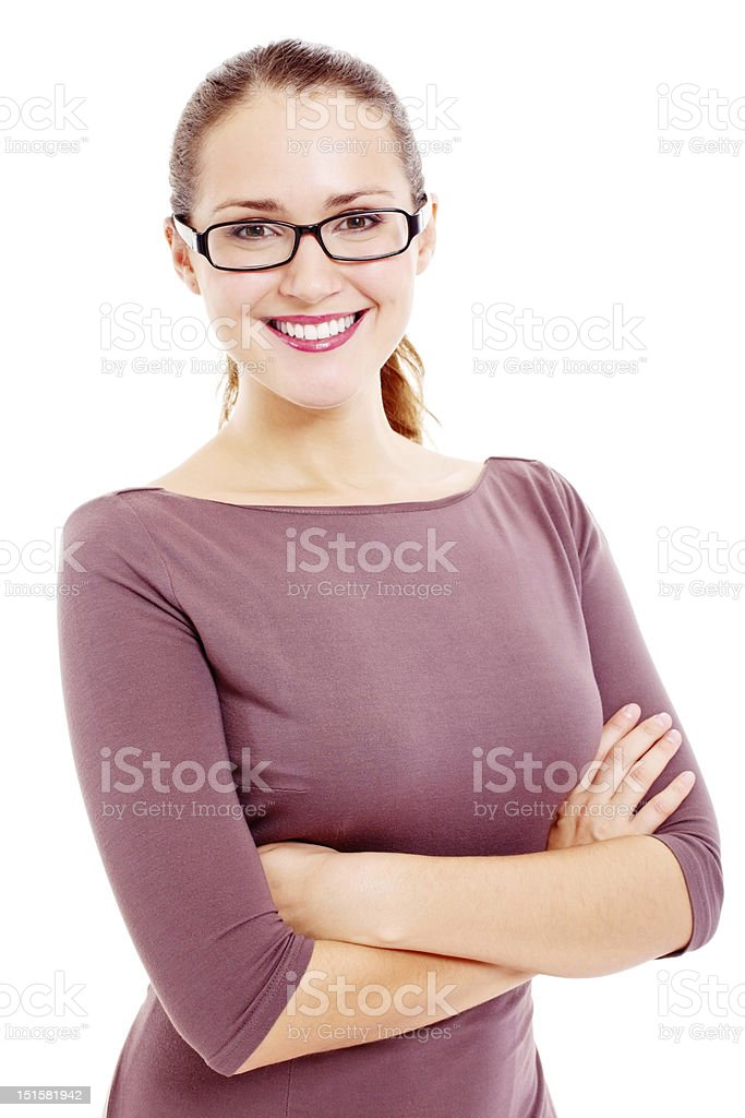 Young business woman over white stock photo