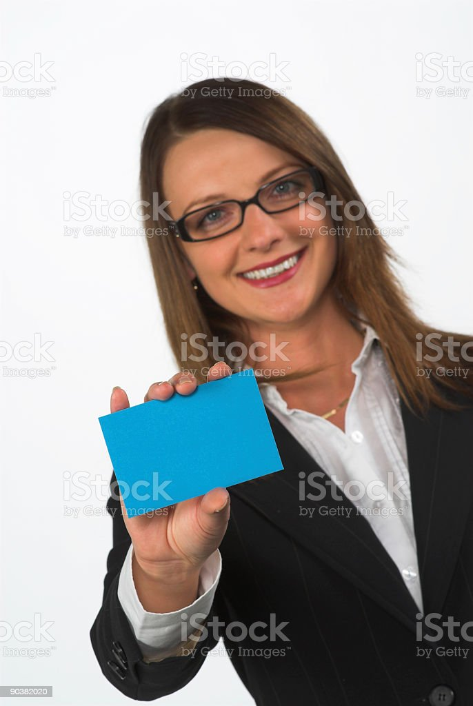 Young business woman shoing a blank paper stock photo
