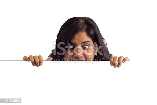 157609352 istock photo Young business woman showing blank placrd 495494680