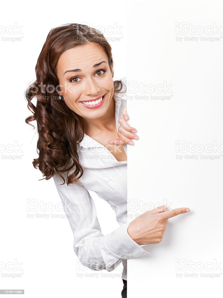 Young business woman showing blank signboard, isolated stock photo