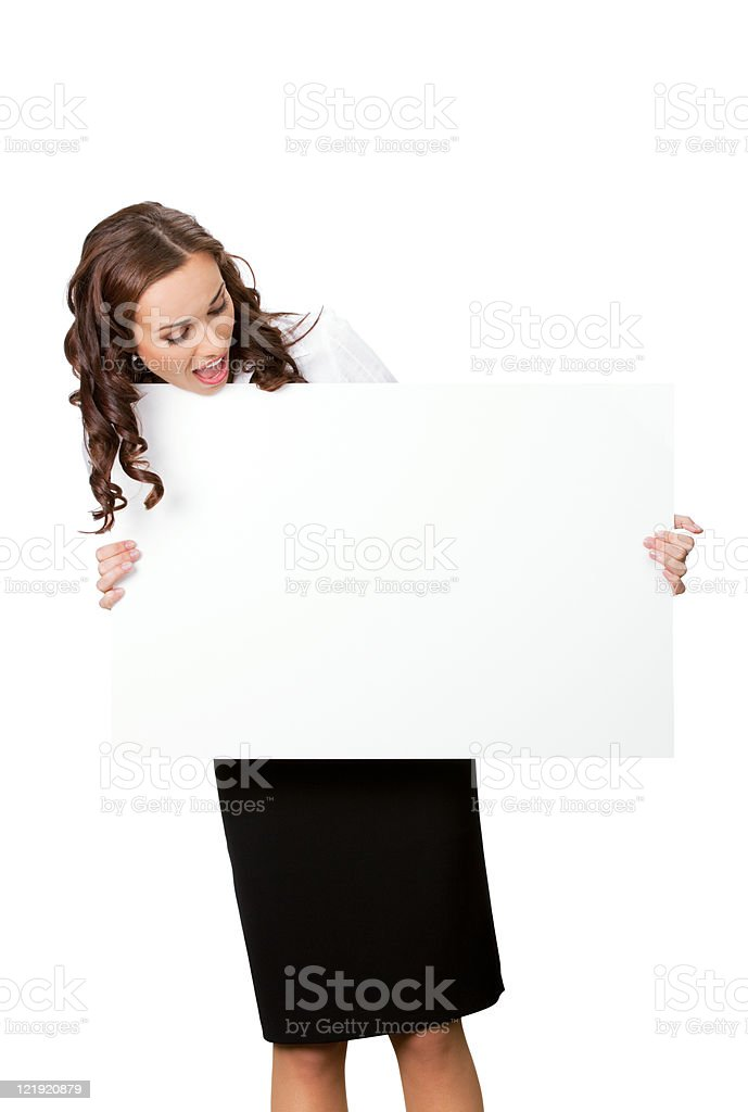 Young business woman showing blank signboard, isolated royalty-free stock photo