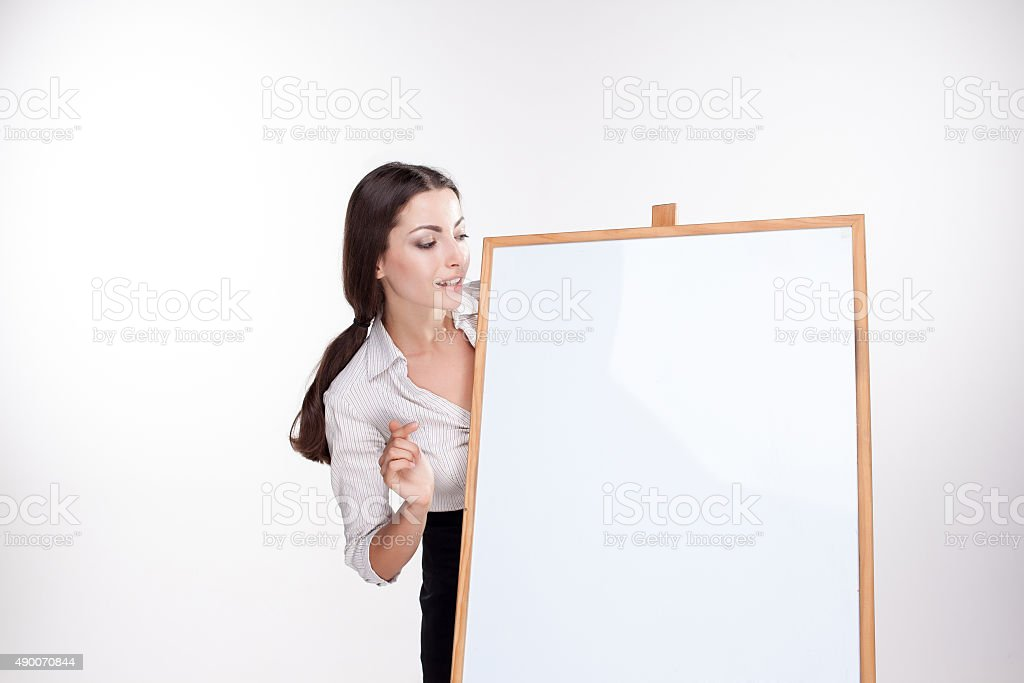 young business woman showing blank signboard on white background stock photo